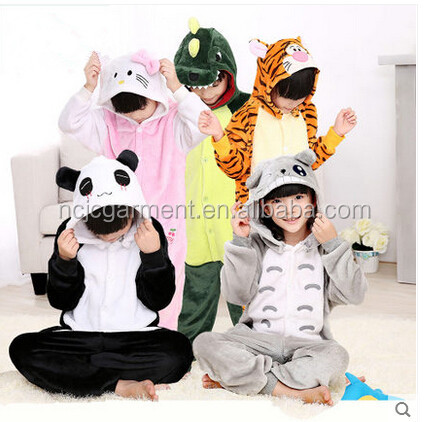 OEM 2016 winter Soft jumpsuits Children Blanket Sleeper kids Flannel Animal pajamas Kid kigurumi pajamas Hooded Romper Sleepwear