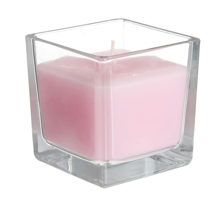 Square Shaped Aroma Scent Glass Candle with Clear Jar