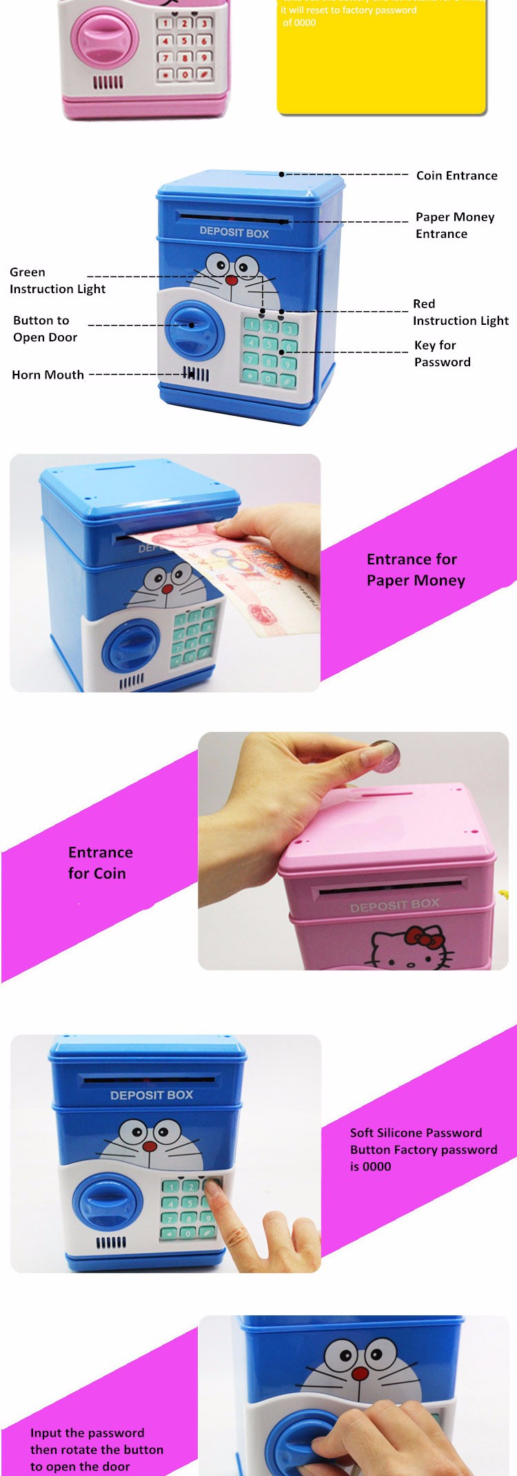 Hot Selling Plastic Intelligent ATM Money Saving Box Toys for Kids