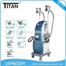 2016 Hot Ultrasonic Beauty Equipment !!!!!!!!!!! Three Cryo handles+Cavitation+RF+Lipo laser Slimming Machine For Sale Titan