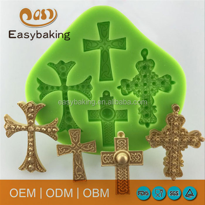 Fimo Polymer Clay Halloween Theme Cross Shape Silicone Mould