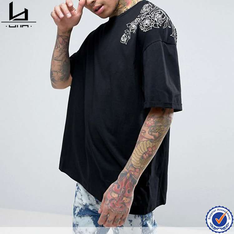 Big and tall clothing rose print oversized loose t- shirt for men