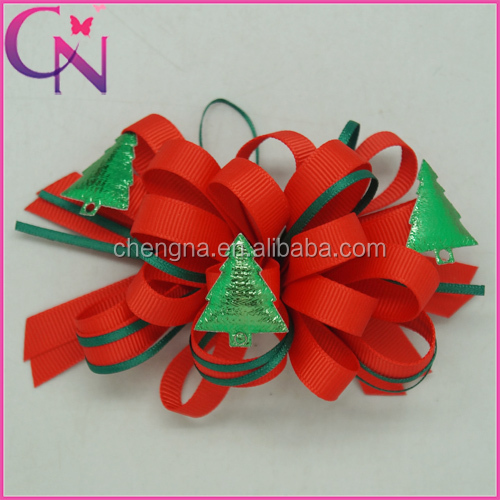 Wholesale Hair Accessories, Christmas Trees Sticked Korker Craft 4 inch Hair Bow for Christmas