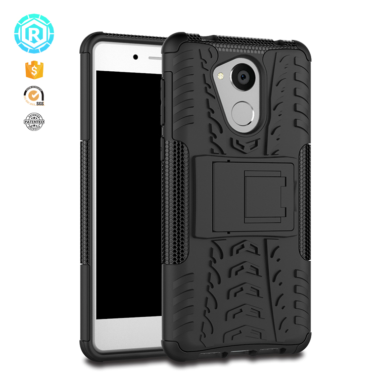 For Huawei Y5 2017 Armor Tough Hybrid Back Cover Case with Kickstand (Black)