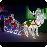 Light Up acrylic santa claus reindeer sleigh christmas decoration led light reindeer