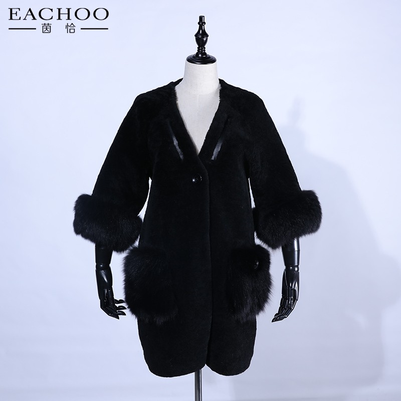 Hot Sale Warm Winter Ladies Black Real Shearling Sheepskin Lamb Fur Long Coat