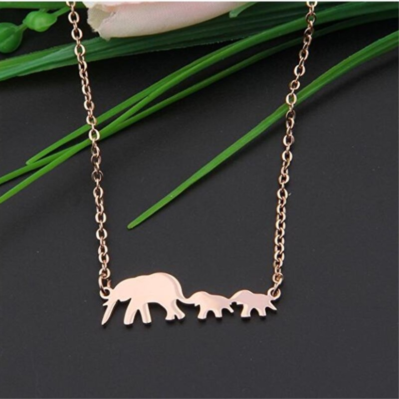 Yiwu Meise Lucky Family Mother and Child Elephant Necklace Mom of Twins Jewelry