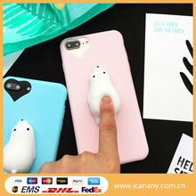 Squishy Bear phone Case, 3D Cute Soft Silicone Poke Squishy Phone Back Cover for iPhone 7