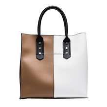 Fashion High Quality Two Colors Combined Handbag
