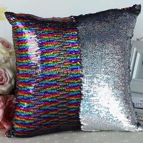 Double-face Two Tone Sequins Mermaid Europe Luxurious Pillow Cover