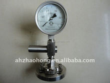 Stainless steel 304 sanitary bayonet bezel ring dry or glycerine or silicone oil fillable diaphragm pressure gauge