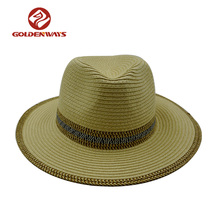 Wholesale cheap paper unisex straw panama hat ecuador with colorful paper braid
