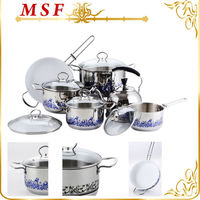 MSF esthetic designs stainless steel kitchen queen cookware set with colorful decal
