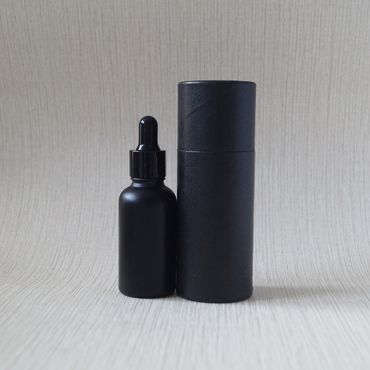 Custom paper box printing 30ml empty matte black glass bottle for beard oil