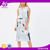 2016 Guangzhou Shandao Factory Summer Sleeveless Slim Waist Back Zip Up Printed Ladies Dress Making
