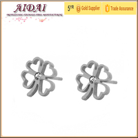 korea gold jewelry leaf shaped stud earrings hypoallergenic and stainless steel earring