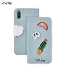 For Apple iPhone X Embroidery Case, Genuine Leather Flip Case Cover Magnetic Stand Function with Card Slots for iPhone X