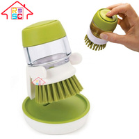 NBRSC Soap Dispensing Palm Washing Brush with Storage Stand for Dishes Cookware pot pan brush
