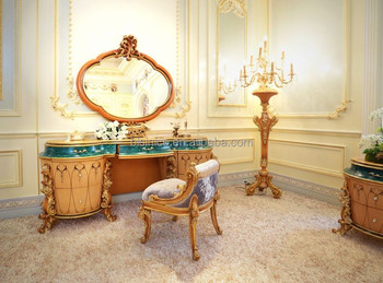 New Design French Rococo Bedroom Furniture Wooden Carving Dressing Makeup Table With Mirror/ Elegant Vanity Dresser Table Set