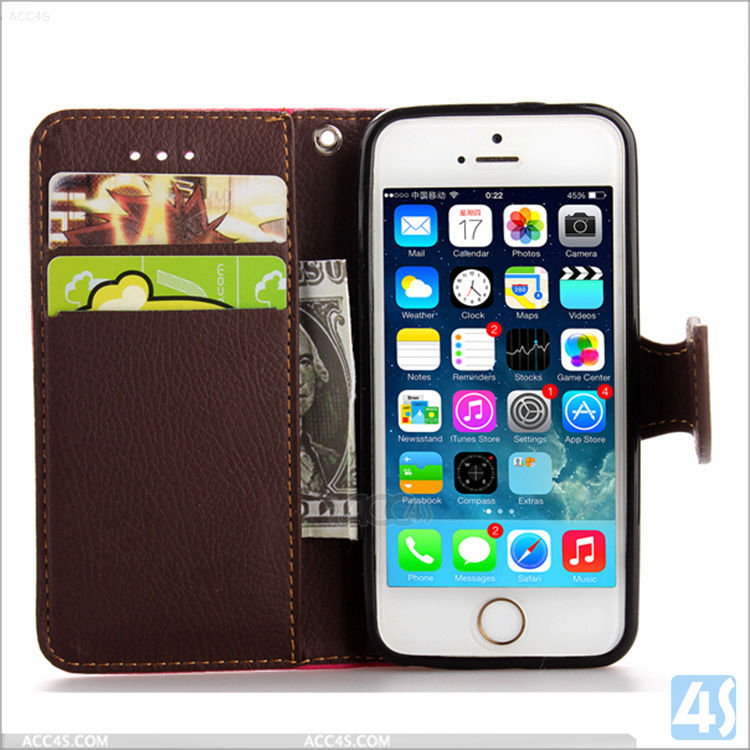 Flip Cell Phone Leather Case Cover for iPhone 5/5s With Leaf Clip, For iPhone 5 Leather Wallet Case Protective Phone Bags & Case