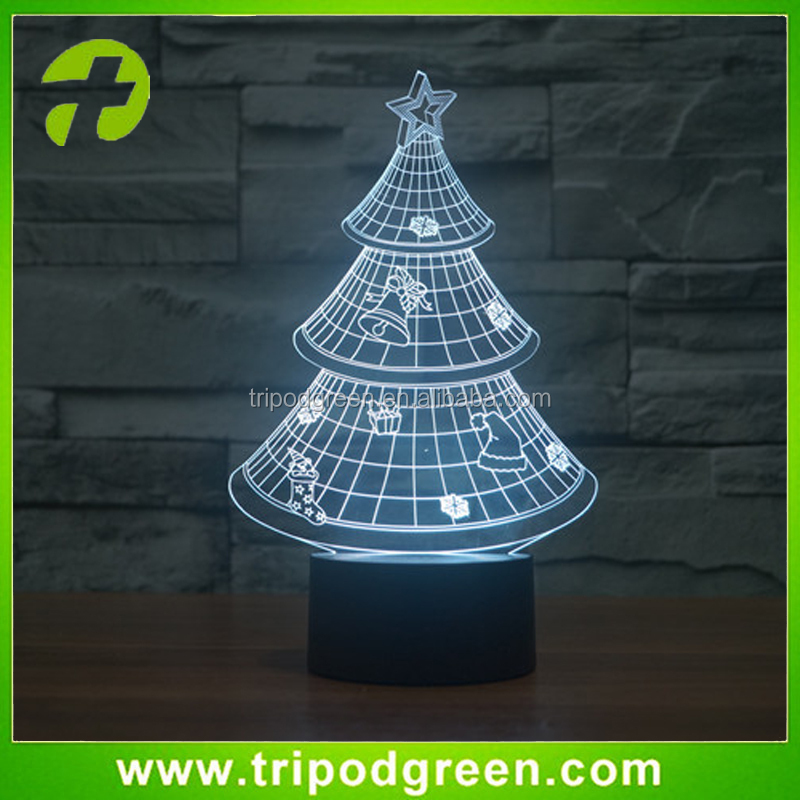 New Creative touch sensor 3D LED Night Lights Christmas Tree Table lamp plug in nightlight