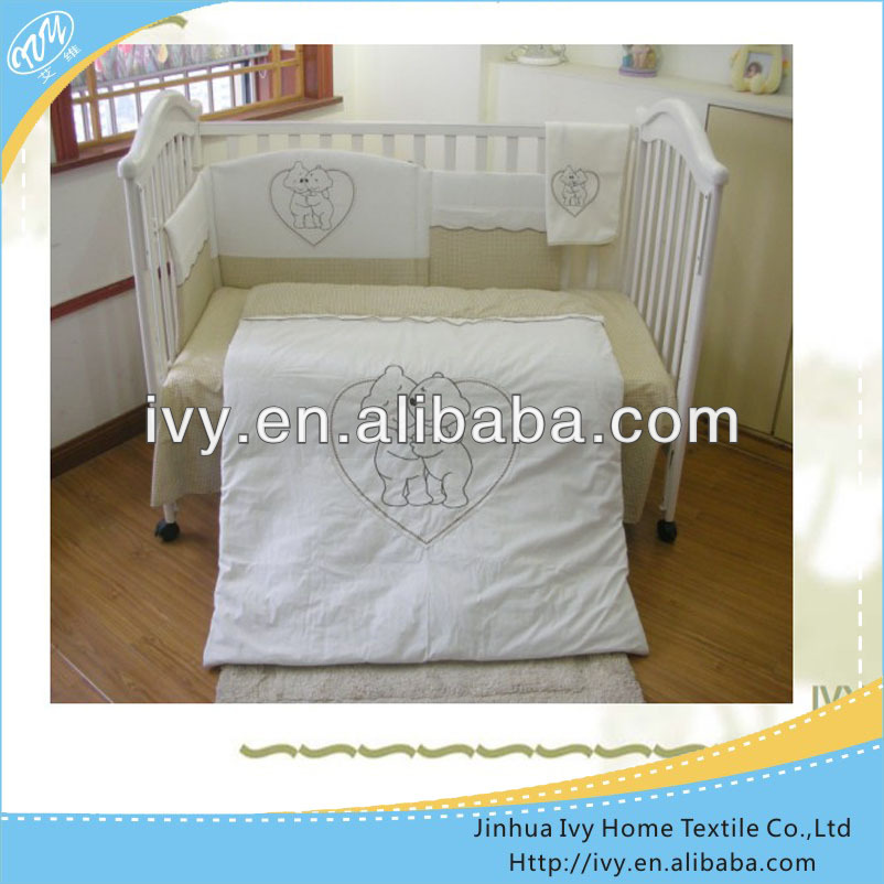European Embroidery Girl Baby Cot Crib Bedding Set