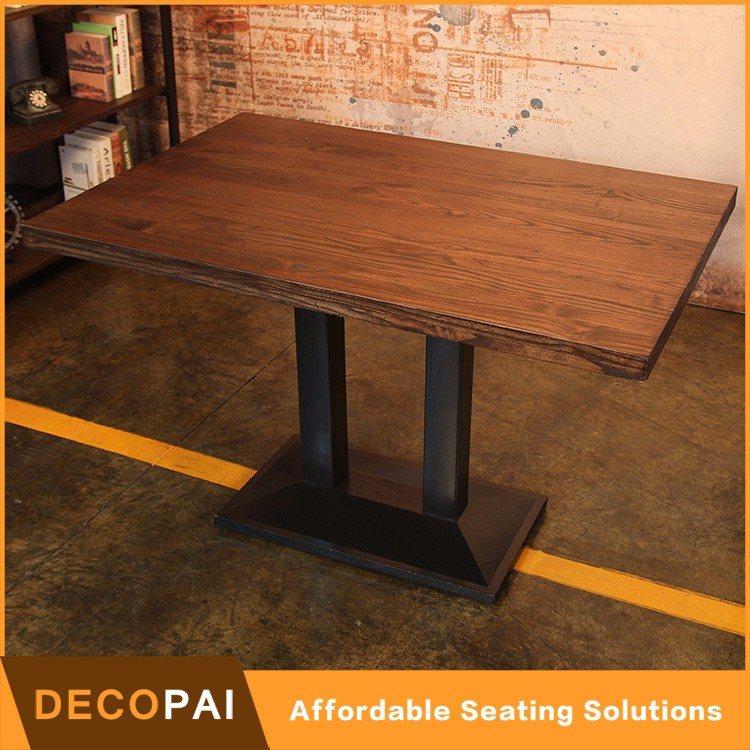Bordered desktop Elm Wood and Iron Dining <strong>Table</strong>-Rectangle restaurant <strong>table</strong>