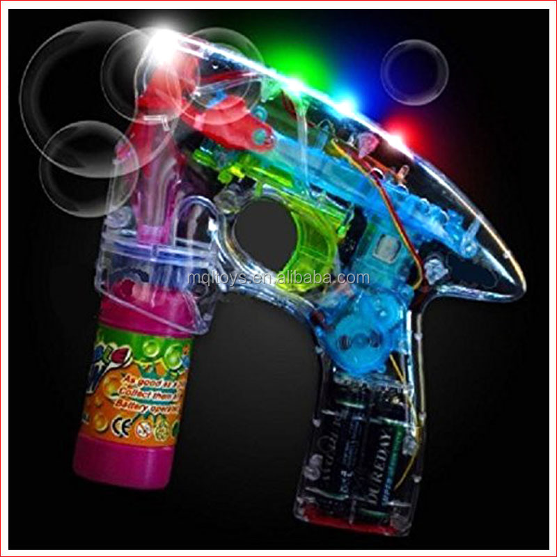 Super power flashing LED light up transparent shooter bubble gun