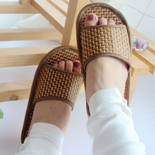 Thick-bottomed anti-slip bamboo rattan woven <strong>slippers</strong> for home