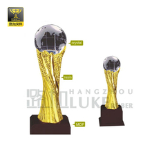 Crystal globe and resin sports trophies memento gifts
