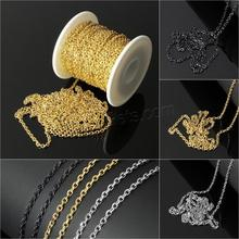 roll jewelry chain Stainless Steel Curb Chain with plastic spool plated more colors for choice 3x2x0.5mm 20m/Spool Sold By Spool