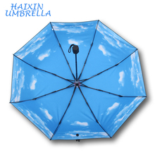 2017 New Sun Protection Anti-UV Beautiful Wholesale Brand Your Own 3 Fold Sky Umbrella