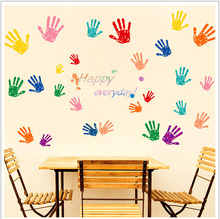 Happy everyday Hand print Stickers Removable Diy Vinyl Quote Wall Sticker Poster Home decoration
