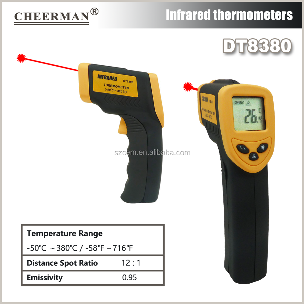 thermometer DT8380 non contact IR laser factory sale digital fast reading industrial household temperature gun
