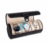 Exquisite and Durable Watch Case 3 Slots Pu Leather Storage Organizer Display Box