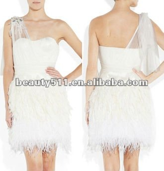 Feather-trimmed skirt ivory silk tulle cocktail dress with crystal applique CDTN24