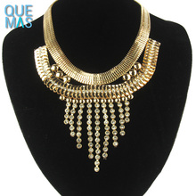 Wholesale dubai gold jewelry buyers tassel chunky statement necklace rhinestone necklaces allure jewellery