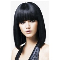 Silky Straight Brazilian Human Hair 14inch bob full lace wig with bangs