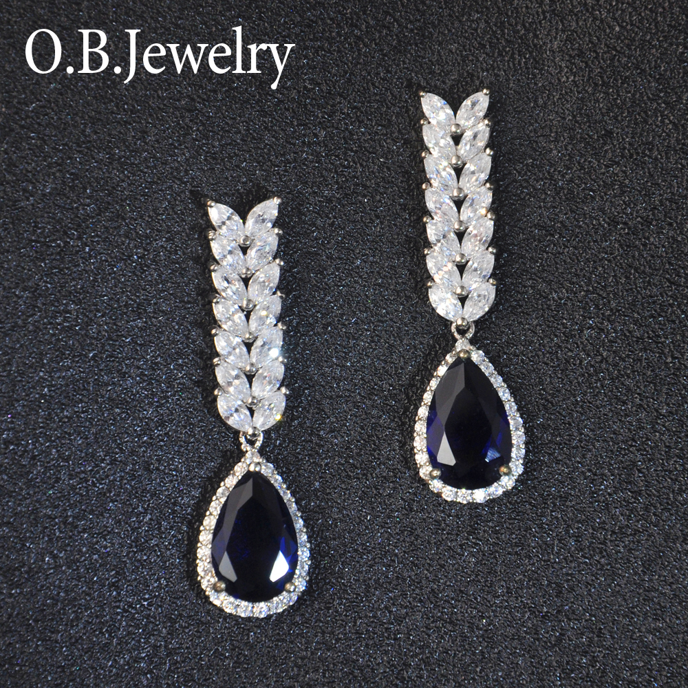 OB Jewelry-White Gold Plating Dangle Bridal Earrings With AAA Cubic Zirconia Elegance Party Earrings