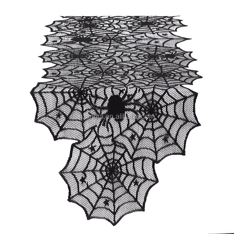 black halloween spider web lace table runners