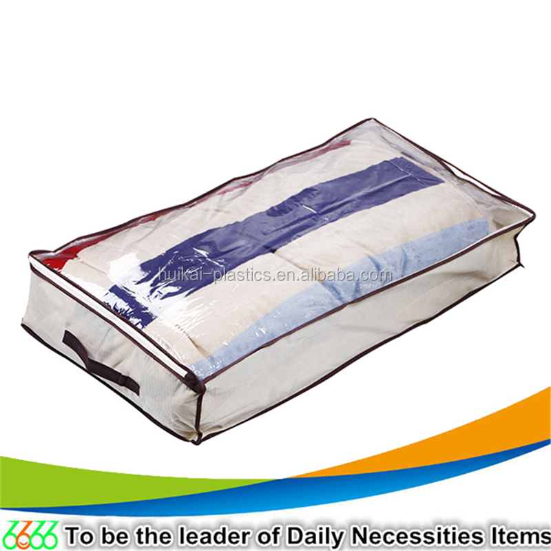 Yiwu market household zipper under bed storage box customized non woven foldable storage organizer