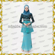 MF19827 New designs 2013 lace Peplum mermaid baju kurung