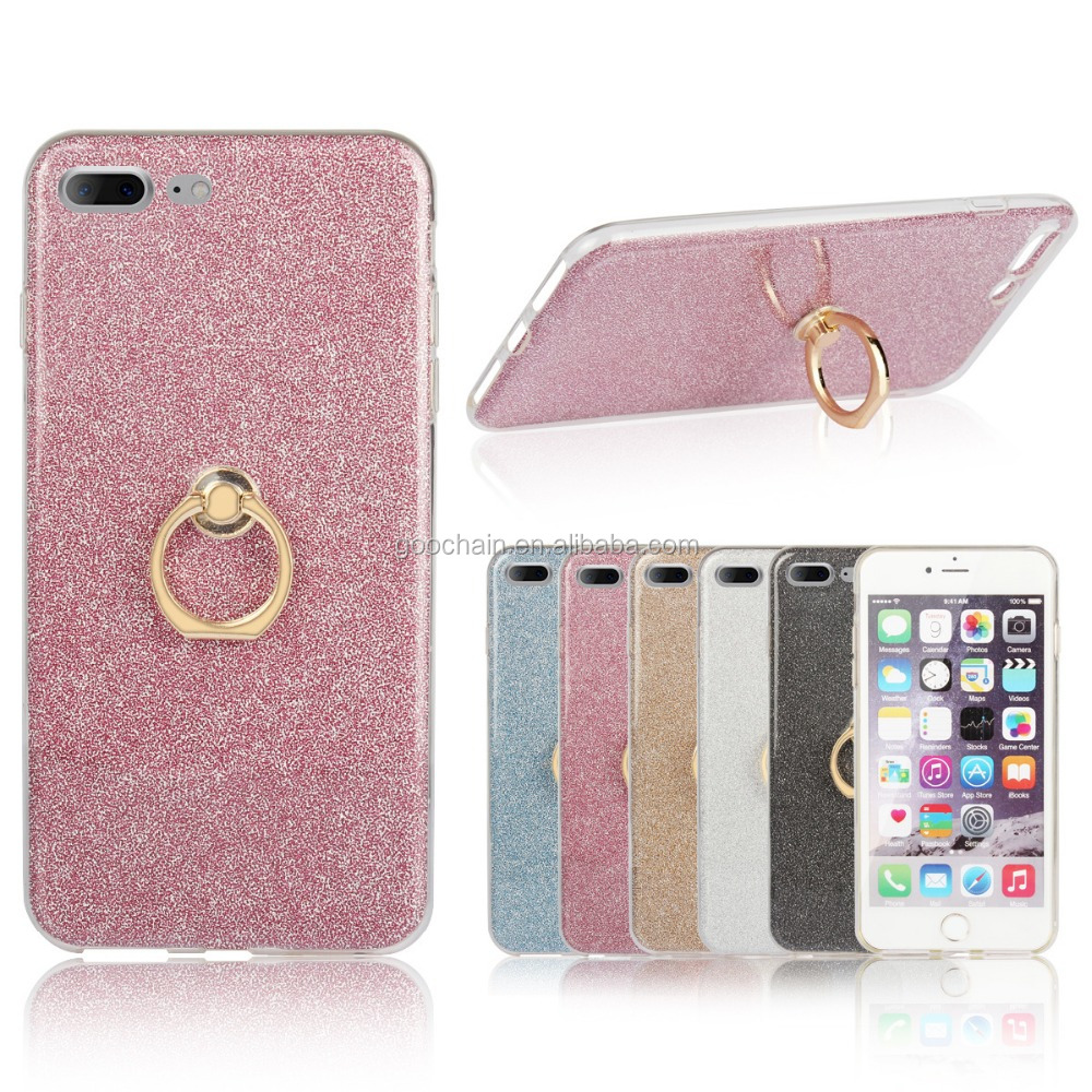 wholesale price Fashion design tpu cover case for iphone 7,mobile phone case With Ring Kickstand Holder Function
