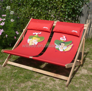HE-128,Promotional Double wooden folding beach deck fabric chair