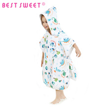 100% Cotton 60*120cm Kids Printed Hooded Beach Towel Poncho