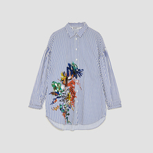 OEM custom women dropped shoulder sleeve pearl embroidery printing blouse shirt