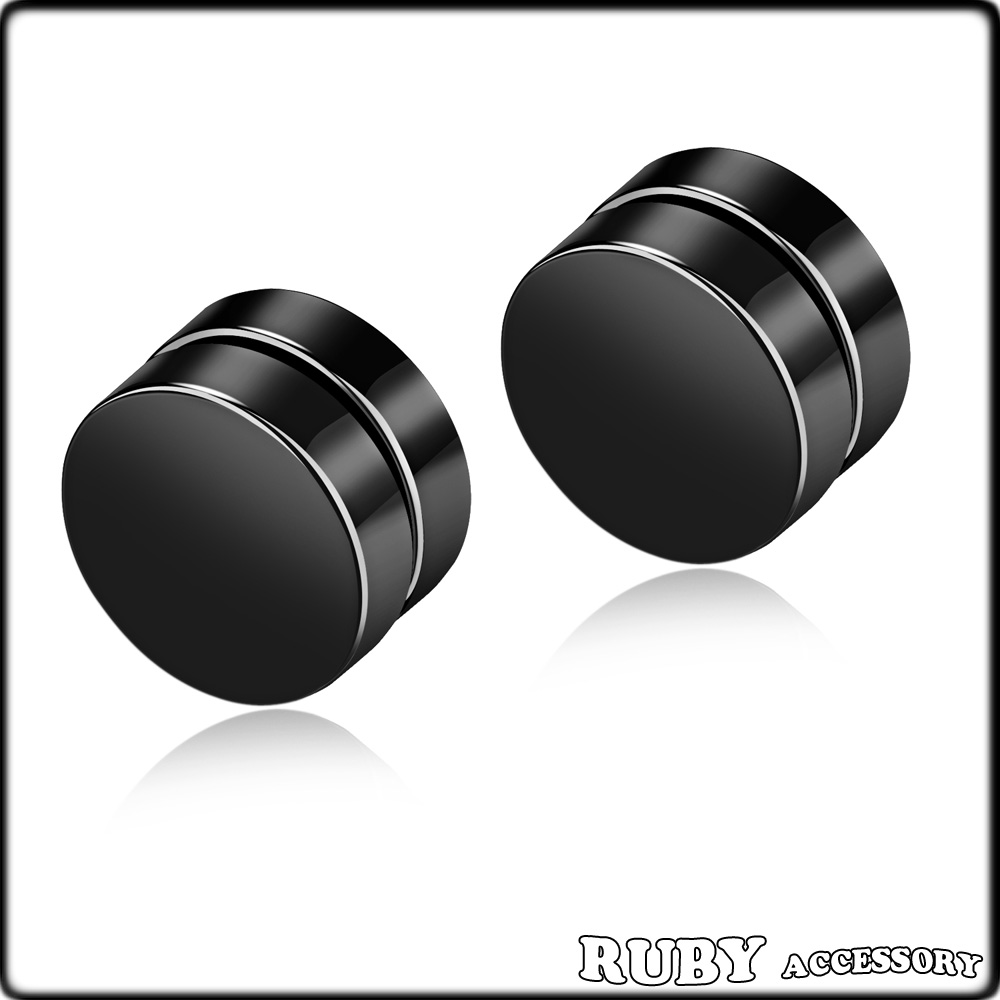 Unisex fashion Personality jewelry black stainless steel men magnetic earrings