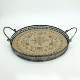 Round Shape Antique Wooden Serving Tray With Metal Handles