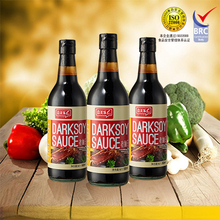 Chinese tranditional dark soy sauce in glass bottle with BRC certification