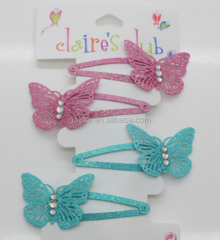 fashoin custom design glitter metal butterfly hair clips